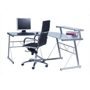 KOKOON DESIGN - bureau d'angle verre transparent - Mueble Para Ordenador