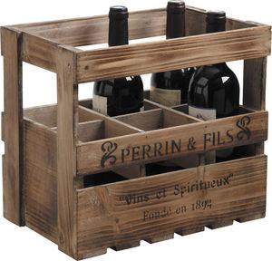 Aubry-Gaspard - caisse à vin en bois 6 bouteilles 33x21x29cm - Cajón Para Botellas