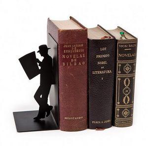 Balvi - serre-livres the reader en métal noir 8x10x17,5cm - Sujetalibros