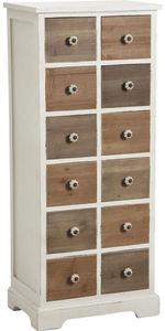 Aubry-Gaspard - commode 12 tiroirs en pin poignées céramique - Semanario