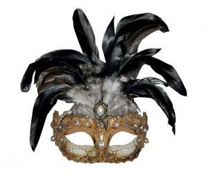 Demeure et Jardin - masque or et argent emplumé - Máscara