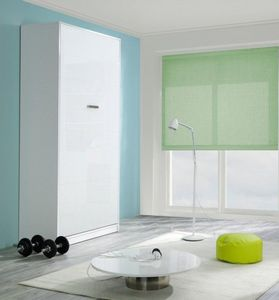 WHITE LABEL - armoire lit kubic blanc mat, couchage 140 * 18 * 1 - Cama Plegable