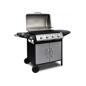 WHITE LABEL - barbecue à gaz 4 brûleurs avec thermomètre - Barbacoa De Gas