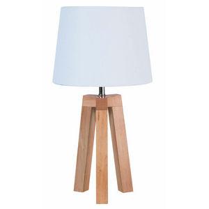 Corep - stockholm - lampe à poser bois/blanc   lampe à po - Lámpara De Sobremesa