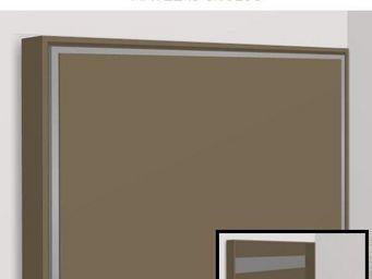 WHITE LABEL - armoire lit escamotable athena, taupe mat. matelas - Armario Cama