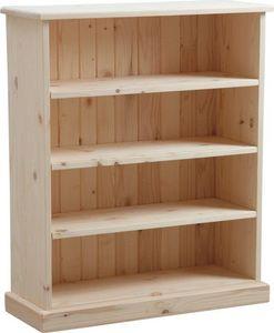 Aubry-Gaspard - bibliothèque 3 étagères en bois brut 75x90x28cm - Biblioteca