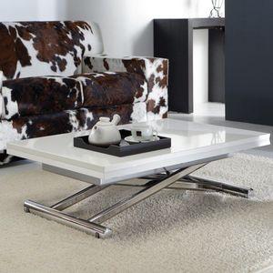 WHITE LABEL - table basse relevable extensible lift wood blanc b - Mesa De Centro De Altura Regulable