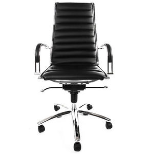 KOKOON DESIGN - fauteuil de bureau en similicuir noir et métal chr - Silla De Despacho