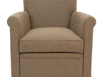 WHITE LABEL - fauteuil laine marron - weston - l 68 x l 80 x h 7 - Sillón
