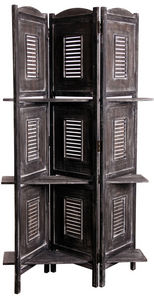 Aubry-Gaspard - paravent avec étagères en bois vieilli - Biombo