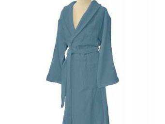 Liou - peignoir de bain bleu tempête - Albornoz
