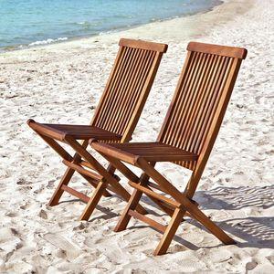 BOIS DESSUS BOIS DESSOUS - lot de 2 chaises de jardin en bois de teck huilé b - Silla De Jardín Plegable