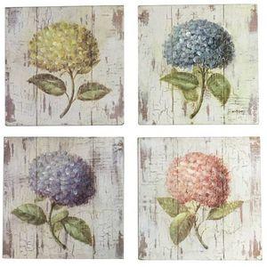 CHEMIN DE CAMPAGNE - 4 tableaux cadres en bois peint fleur hortensia 20 - Cuadro Decorativo