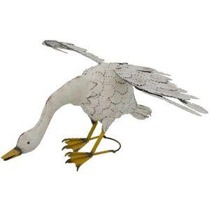 CHEMIN DE CAMPAGNE - statue sculpture oie en fer oiseau oiseaux de jard - Ornamento De Jardín