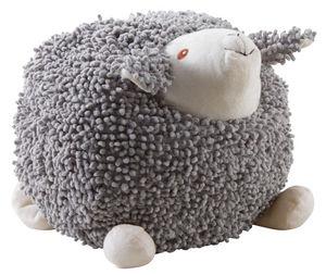Aubry-Gaspard - mouton à suspendre en coton gris shaggy grand modè - Peluche