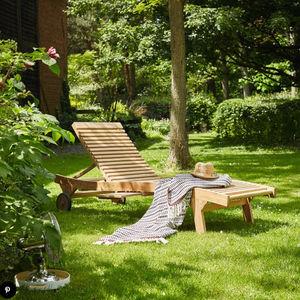 BOIS DESSUS BOIS DESSOUS - lot de 2 bains de soleil en bois de teck midland - Tumbona