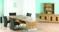 Act Furniture Manufacturers - nimbus pippy oak with burr walnut flaps and silver - Mesa De Reunión