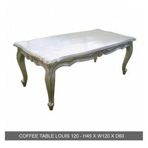 DECO PRIVE - table basse baroque bois 120 cm argente - Mesa De Centro Rectangular