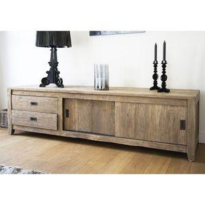 BOIS DESSUS BOIS DESSOUS - meuble tv en bois de teck recyclé 180 cargo - Mueble Tv Hi Fi