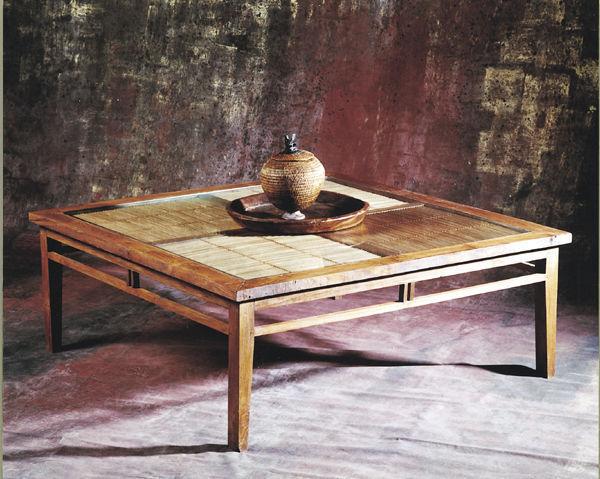 Matahati - Mesa de centro cuadrada-Matahati-Table basse 120 x 120 teck et bambou