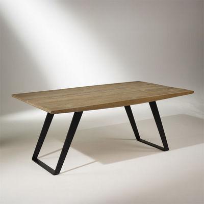 Robin des bois - Mesa de comedor rectangular-Robin des bois-Table de salle à manger chêne massif, pieds métal,