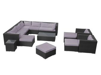 WHITE LABEL - salon de jardin noir/gris - aldabra - l 115 x l 77 - Salotto Da Giardino
