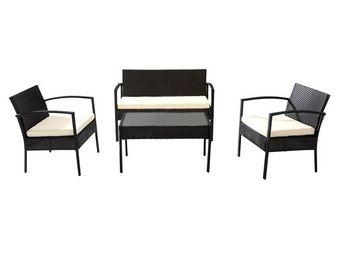 WHITE LABEL - salon de jardin noir/ecru - mokulua - l 108 x l 60 - Salotto Da Giardino