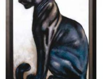 Les Comptoirs Du Sud - toile peinte panthere noire sur chassis - Olio Su Tela E Olio Su Tavola