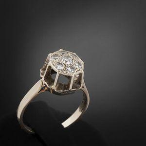Expertissim - bague en or gris et diamants - Anello