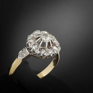Expertissim - bague fleur en or et diamants - Anello