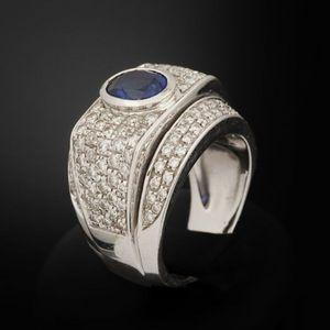 Expertissim - bague en or ornée d'un saphir et de diamants - Anello