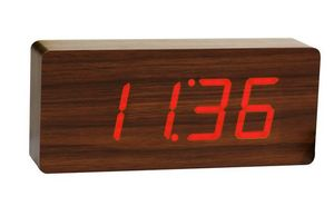 Gingko - slab teak click clock / red led - Sveglia