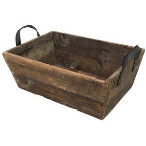 CHEMIN DE CAMPAGNE - grand casier panier caisse en bois 66x39x27 cm -