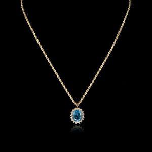 Expertissim - chaîne et pendentif en or, topaze et diamants - Ciondolo