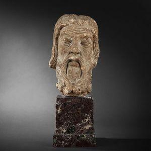 Expertissim - tête d'apôtre, ile-de-france, fin du xiie siècle - Scultura