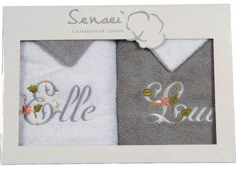 SIRETEX - SENSEI - coffret cadeau 2 serviettes brodées + 2 gants elle - Guanto Da Bagno