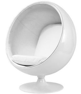 STUDIO EERO AARNIO - fauteuil ballon aarnio coque blanche interieur bla - Poltrona E Pouf