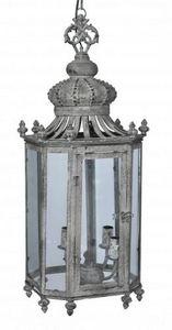 Demeure et Jardin - lanterne fer forgé couronne gris cendrée - Lanterna Da Esterno