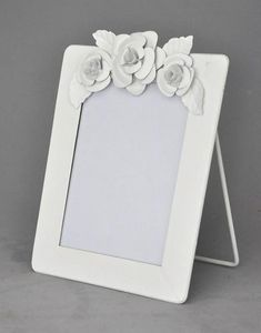 Demeure et Jardin - cadre blanc vertical à fleurs - Cornice Portafoto