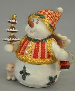 Demeure et Jardin - boite bonhomme de neige en epoxy - Decorazione Natalizia