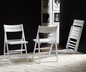 WHITE LABEL - lot de 2 chaises pliante robert blanche. - Sedia Pieghevole