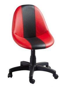 WHITE LABEL - chaise de bureau pivotante coloris rouge et noir - Sedia Ufficio