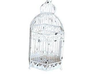Demeure et Jardin - cage à poser patine blanc antique - Gabbia Per Uccelli