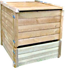 Sauvegarde58 - composteur 650 litres en pin traité 95x87x97cm - Contenitore Compostaggio
