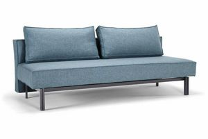 WHITE LABEL - innovation living  canape lit design sly bleu con - Divano Letto Clic Clac (apertura A Libro)