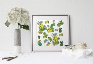 la Magie dans l'Image - print art ananas motif - Stampa
