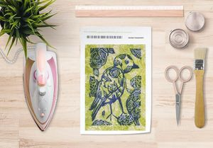 la Magie dans l'Image - papier transfert oiseau batik vert - Trasferibile