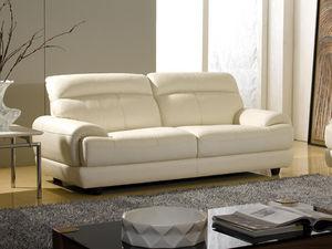 WHITE LABEL - canapé cuir 3 places lesko - Divano 3 Posti
