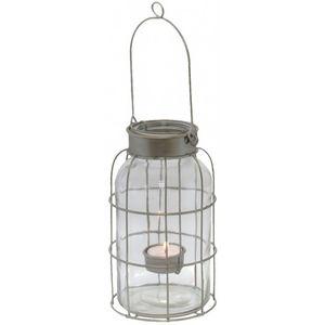 CHEMIN DE CAMPAGNE - bocal lanterne tempête à poser ou suspendre en fer - Lanterna
