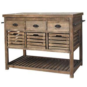 CHEMIN DE CAMPAGNE - meuble ilôt central billot console bahut buffet ta - Isola Cucina